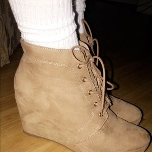 Forever21 tan lace up booties
